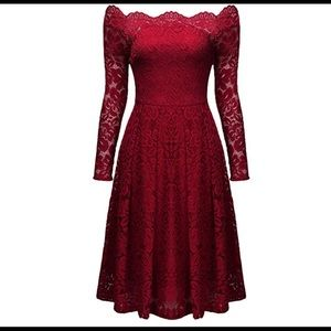 Red formal cocktail dress